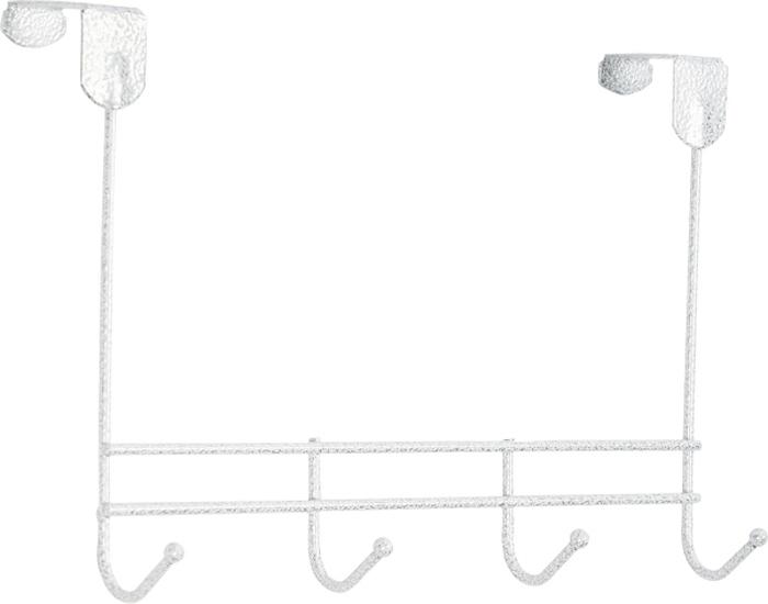 """Надверная вешалка ЗМИ """"Нота"""" предназначена для размещения одежды в любых помещениях. Вешалка выполнена из проволоки диаметром 4 мм; стальные шарики; полимерно-порошковое покрытие.  Конструкция: цельносварная.  Отличительные особенности:  - надежная сварная конструкция; - три надежных крючка; - для размещения на дверях до 4 см;  Надверная вешалка ЗМИ """"Нота"""" подойдет для любых дверей до 4 см. Подойдет для размещения на дверях в спальне, детской и ванной комнате. Надверная вешалка имеет четыре крючка. Металлическая вешалка надежна и проста в уходе. Данное изделие безопасно в использовании."""