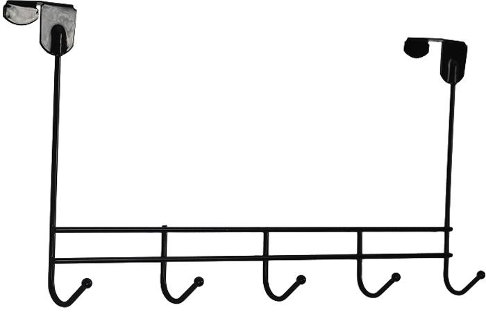 Вешалка надверная ЗМИ Нота, 5 крючков, цвет: черный, 42,6 х 8 х 20,5 см