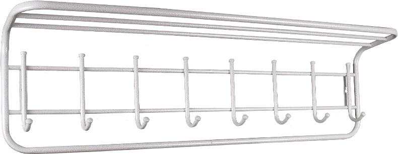 """Вешалка ЗМИ"""" с полкой подойдет для размещения в прихожей и офисных помещениях. Материал: стальная труба диаметром 10 и 16 мм.;  стальные колпачки; полимерно-порошковое покрытие.  Конструкция: цельносварная."""