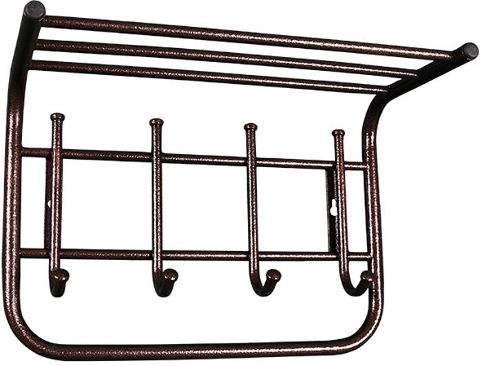 Вешалка настенная ЗМИ, с полкой, 4 крючка, 40 х 21 х 28 смВСП 5 МНастенная вешалка ЗМИ выполнена из высококачественной стали со специальным полимерным покрытием. Вешалка имеет 4 крючка и оснащена полкой. На крючки удобно вешать одежду, сумки или шарфы. Полка предназначена для шапок и перчаток. Изделие крепиться к стене с помощью двух саморезов (не входят в комплект). Вешалка ЗМИ отлично дополнит интерьер вашей прихожей. Отличительные особенности:- надежная сварная конструкция; - компактная вешалка с 4 крючками; - полка удобна для хранения головных уборов; - классическая форма. Назначение: Настенная вешалка для размещения одежды и головных уборов.Область применения: В любых помещениях – дом, офис, общепит и других.Материал: Стальная труба диаметром 10 и 16 мм; стальные колпачки; пластиковые заглушки; полимерно-порошковое покрытие. Конструкция: Цельносварная. Габариты (Д х Ш х В):В собранном виде: 400 х 210 х 280 мм.В упакованном виде: 400 х 210 х 280 мм.