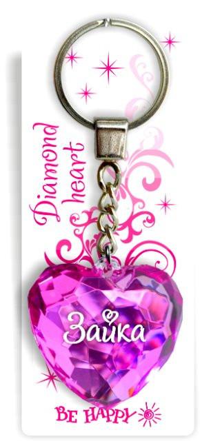 Брелок Би-Хэппи Диамантовое сердце. Зайка, 4 х 4 х 2 см