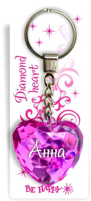 """Каждой девушке будет приятно получить в подарок такой брелок: яркая расцветка, переливающиеся хрустальные грани, удачная форма сердечка и главное – именная надпись """"Анна"""". Этот брелок успешно подчеркнет романтический и стильный модный образ. Это отличный подарок подружке, маме, сестре или однокласснице к новогодним праздникам, на День Валентина, к 8 Марта или День рождения. Брелоком можно украсить сумочку, детскую коляску или телефон. Переливающиеся грани и блестящая поверхность создадут гламурный образ. Размер сердечка – 4,5х4,5 см, цвет криталла – розовый."""