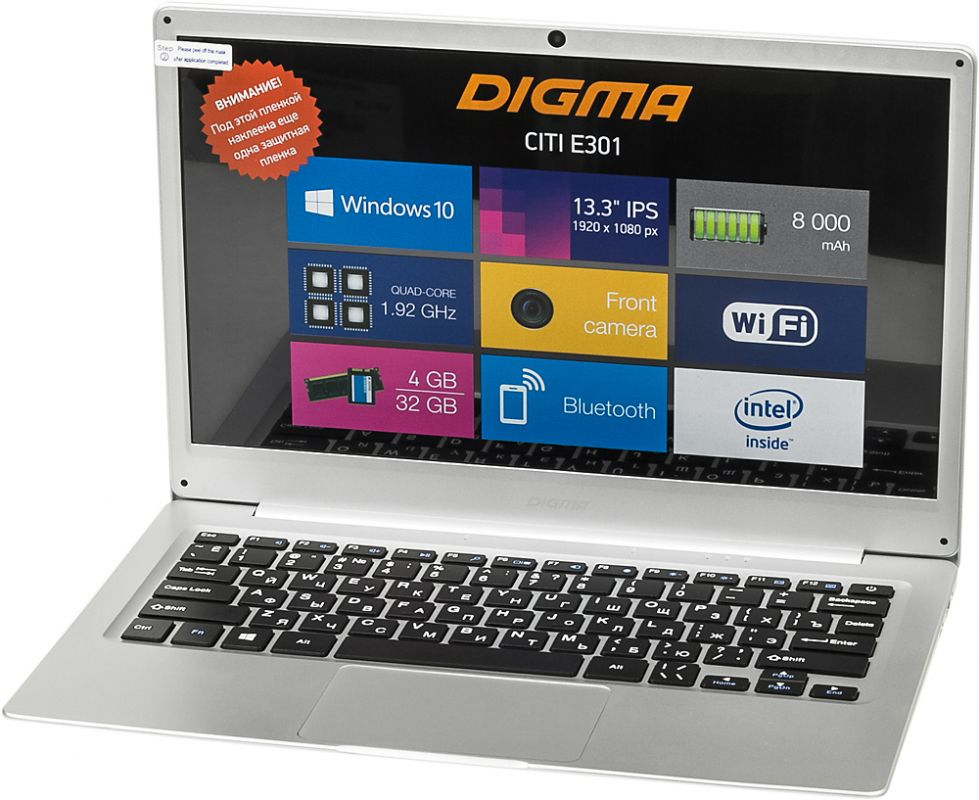 Digma CITI E301, Silver (ES3008EW) планшет lenovo miix 320 10icr atom x5 z8350 1 44 4c ram2gb rom32gb 10 1 1920x1080 windows 10 серебристый 5mpix 2mpix bt wifi