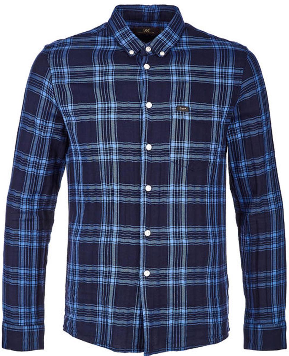 Рубашка мужская Lee, цвет: синий. L66XGMEE. Размер M (48)L66XGMEEРубашка от Lee выполнена из натурального хлопка. Модель с длинными рукавами и отложным воротником застегивается на пуговицы.