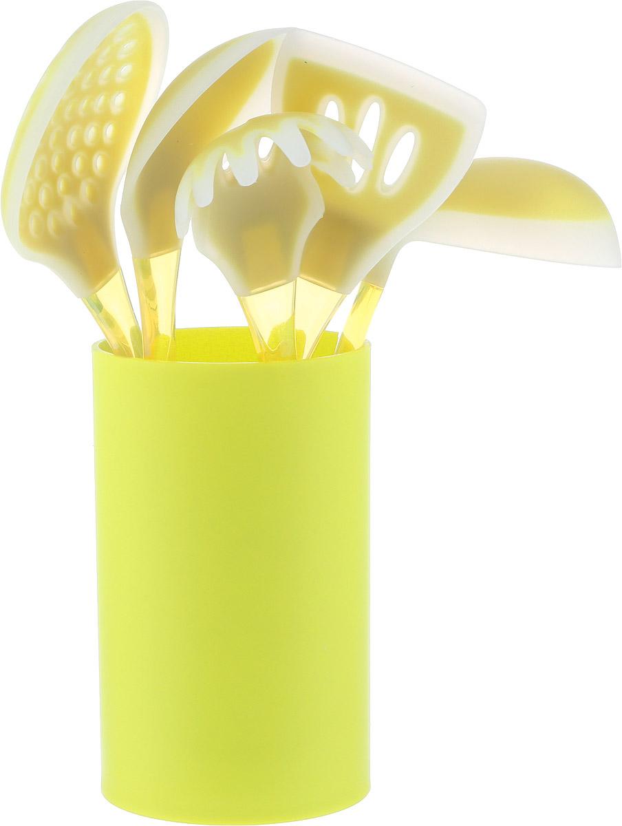 """Набор кухонных принадлежностей """"Mayer & Boch"""" включает  ложку для спагетти, лопатку с прорезями, ложку для  помешивания, шумовку, половник и подставку.  Приборы выполнены из пластика, рабочие поверхности  предметов покрыты безопасным пищевым силиконом, что  позволяет использовать их для посуды с антипригарным  покрытием. Ручки приборов, изготовленные из полистирола,  снабжены отверстиями для  подвешивания.  Для удобного хранения в наборе предусмотрена подставка с  покрытием Soft-Touch.  Этот профессиональный набор очень удобен в  использовании. Наслаждайтесь приготовлением пищи с  набором кухонных принадлежностей """"Mayer & Boch"""".  Длина ложки для спагетти: 31 см.  Диаметр рабочей поверхности ложки для спагетти: 7,5 см.   Длина шумовки: 34 см.  Диаметр рабочей поверхности шумовки: 10,5 см.  Длина ложки: 33 см.  Размер рабочей поверхности ложки: 6,5 х 11 см.  Длина лопатки: 33,5 см.  Размер рабочей поверхности лопатки: 8 х 10 см.  Длина половника: 30,5 см.  Диаметр рабочей поверхности половника: 8,5 см."""