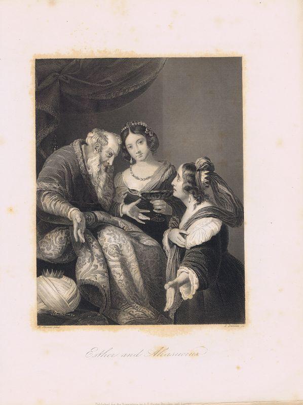 Эстер (Эсфирь) и Ахашверош (Артаксеркс). Офорт. Германия, Дрезден и Лейпциг, 1850-е
