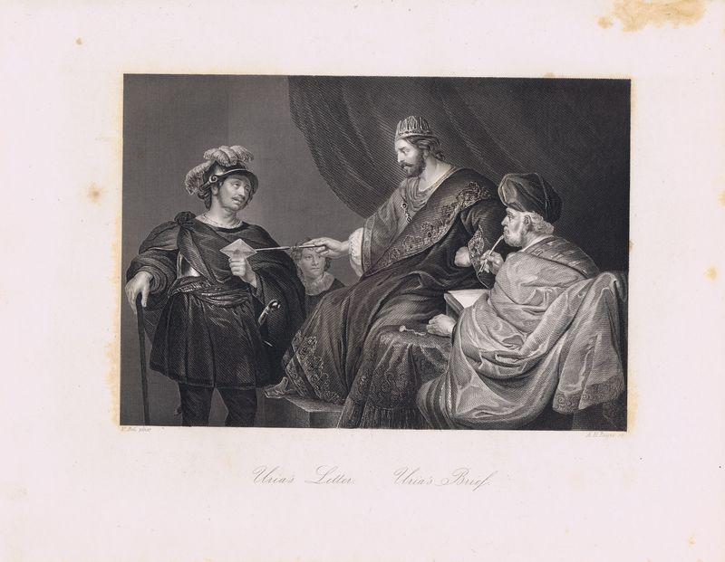 Письмо Урия.  Офорт.  Германия, Дрезден и Лейпциг, 1850-е Автор(-ы): Пейн, Альберт Генри (Payne, Albert Henry); Боль, Фердинанд...