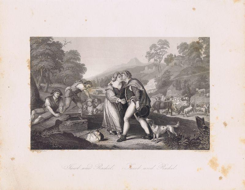 Иаков и Рахиль.  Офорт.  Германия, Дрезден и Лейпциг, 1850-е Автор(-ы): Пейн, Альберт Генри (Payne, Albert Henry); Джорджоне...