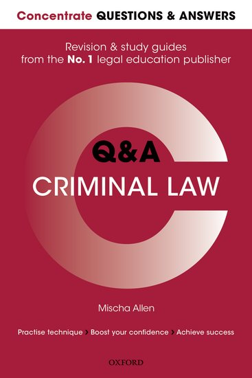 Concentrate Questions and Answers Criminal Law