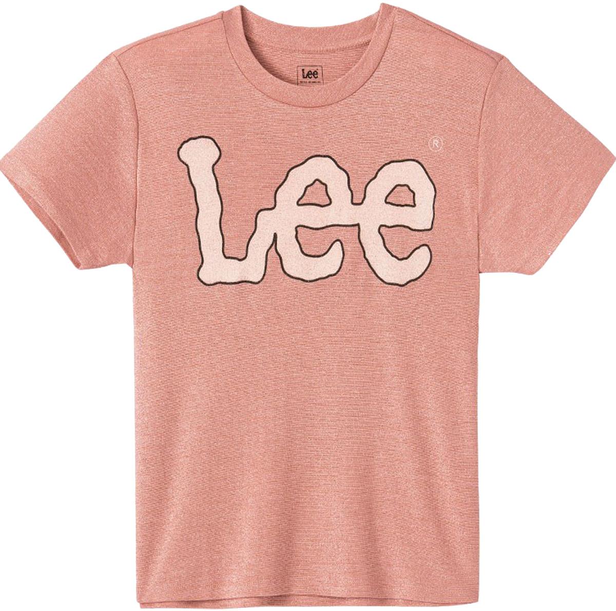 Футболка женская Lee, цвет: розовый. L41KRSEA. Размер L (46)L41KRSEAФутболка от Lee выполнена из вискозы с люрексом. Модель с короткими рукавами и круглым вырезом горловины спереди оформлена логотипом бренда.