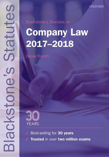 Blackstone's Statutes on Company Law 2017-2018