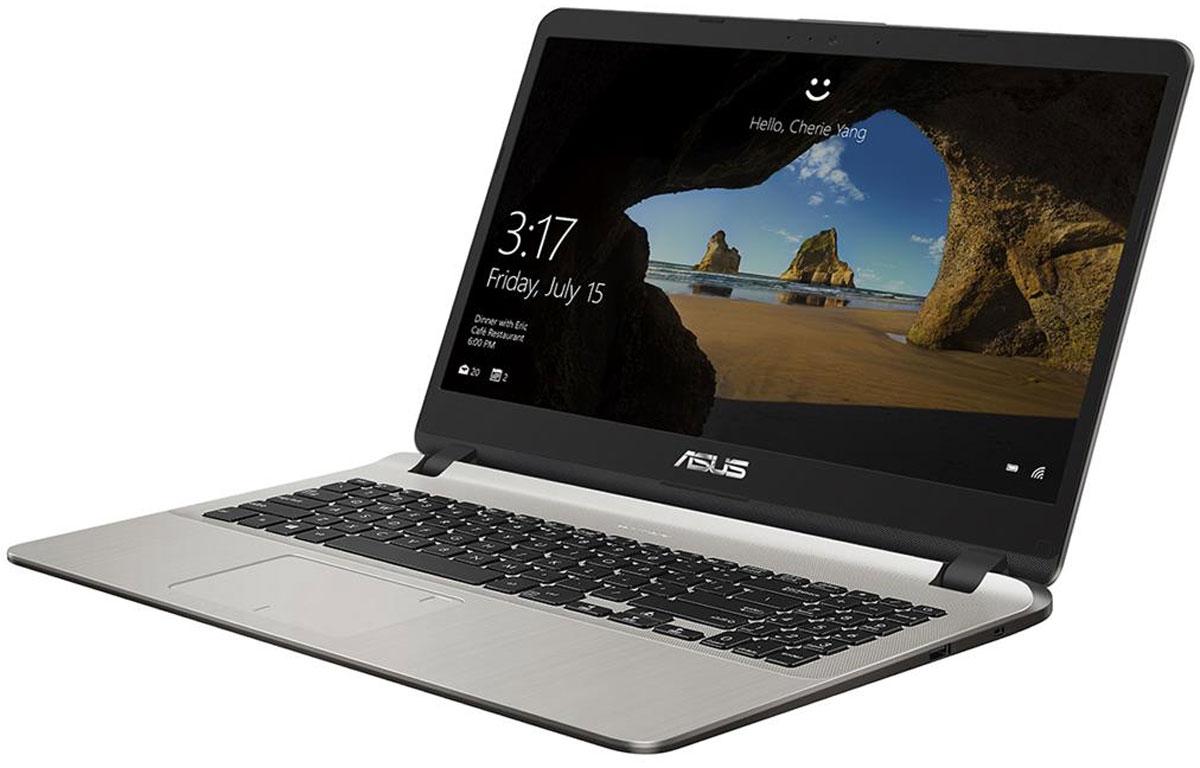 ASUS X507UA, Gold (X507UA-BQ072T)X507UA-BQ072TASUS X507UA – это мультимедийный ноутбук для повседневного использования, объединяющий в себестильный дизайн с современными технологиями. Он предлагает пользователю всю мощь процессора Intel Core i3шестого поколения в сочетании с оперативной памятью DDR4 объемом 4 ГБ. Для хранения файлов у негоимеется традиционный жесткий диск большой емкости.Данный ноутбук отличается компактностью и малым весом – всего 1,68 кг. С таким по-настоящему мобильнымкомпьютером можно и продуктивно работать, и интересно отдыхать, где бы вы ни находились.Подключение к сетям Wi-Fi осуществляется с помощью двухдиапазонного модуля стандарта 802.11ac смаксимальной скоростью передачи данных до 867 Мбит/с!Технология Splendid позволяет выбрать один из трех предустановленных режимов работы дисплея, каждый изкоторых оптимизирован под определенные приложения: режим Vivid подходит для просмотра фотографий ифильмов, режим Normal – для обычной работы в офисных приложениях, а режим Eye Care – для комфортногочтения с экрана. Кроме того, имеется режим Manual, в котором параметры цветопередачи можно настроитьвручную. Еще одна эксклюзивная технология ASUS, под названием Tru2Life Video, служит для автоматическойоптимизации параметров изображения, таких как резкость и контрастность, при выводе на экран компьютеравидеороликов.В ноутбуках ASUS реализована эксклюзивная технология SonicMaster, представляющая собой комплексаппаратных и программных средств, которые обеспечивают беспрецедентное для мобильных компьютеровкачество звучания встроенной аудиосистемы. Для гибкой настройки оттенков звука служит утилитаAudioWizard, предлагающая выбрать один из пяти режимов, каждый из которых идеально подходит дляопределенного типа приложений (музыка, фильмы, игры, звукозапись и воспроизведение голоса).Ключевой особенностью ноутбуков ASUS с системой охлаждения IceCool является то, что горячие компонентыразмещены подальше от рук пользователя, поэтому верхняя часть корпуса всегда оста