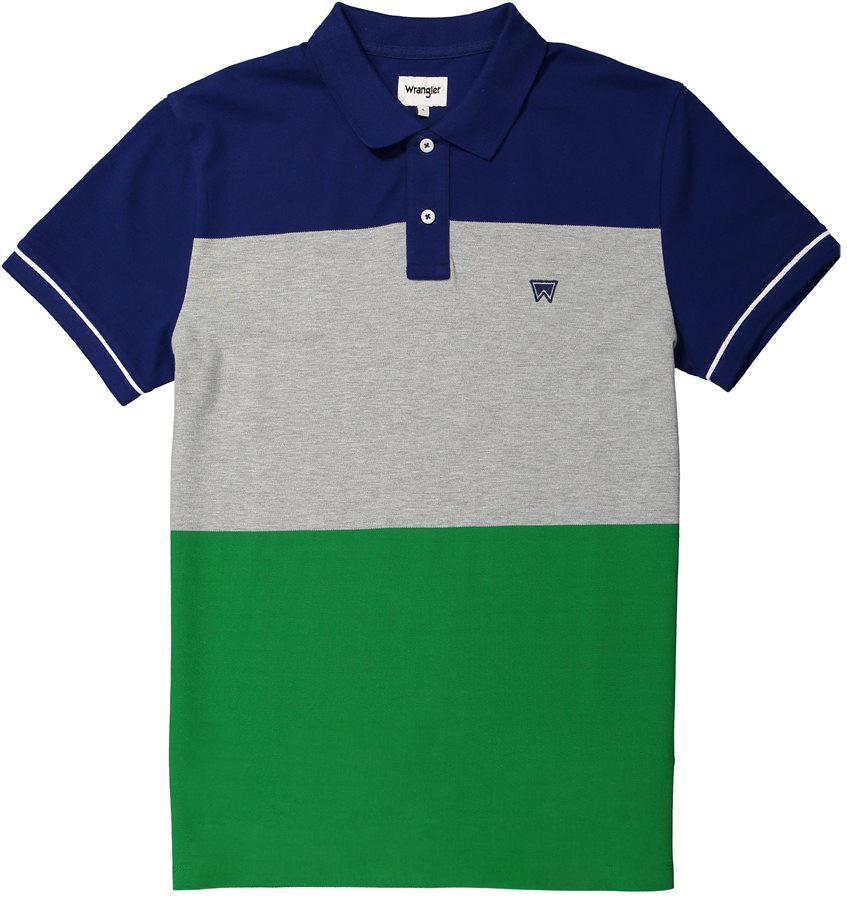 Поло мужское Wrangler, цвет: синий, серый, зеленый. W7B32K6UX. Размер M (48)W7B32K6UX