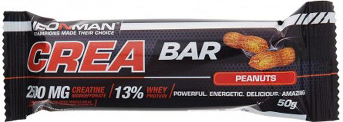 Батончик энергетический Ironman Crea Bar, с креатином, орех, темная глазурь, 50 г4607062750629Crea Bar – шоколадный батончик с максимум пользой, энергиий, а так же мыщачный рост! обладает ярко выраженным тонизирующим действием, обусловленным содержанием креатина. Вкусный и полезный перекус!Состав:Глюкозный сироп, сахар,, сыворотка концентрат сывороточного белка Armor Proteines S.A.S.,Франция, кокосовая стружка,Индонезия,патока, молоко сухое обезжиренное,, соль, шоколадная глазурь, 99,9% моногидрат креатина, смесь витаминов DSM Nutritional Products,Швейцария.