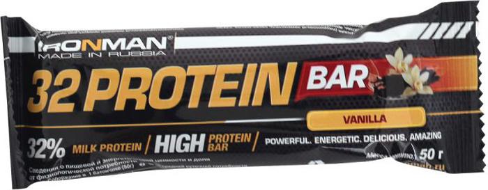 """Батончик протеиновый Ironman """"32 Protein"""", ваниль, темная глазурь, 50 г"""