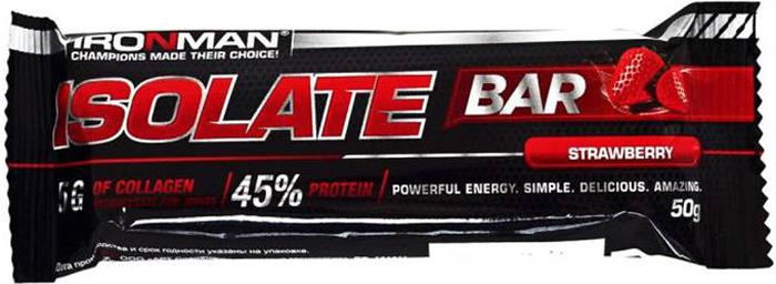 """Батончик протеиновый Ironman """"Isolate Bar"""", клубника, темная глазурь, 50 г"""