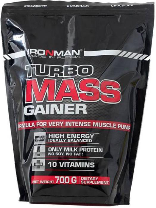 Гейнер Ironman Турбо Масс, ваниль, 700 г гейнер турбо масс земляника ironman 700 гр