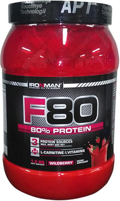 Протеин Ironman F-80, земляника, 1 кг4650069821144F-80 - это комплексный, концентрированный, сухой протеиновый коктейль, содержащий 80% высококачественных белков из 4 источников. Обогащен L-карнитином и 10 витаминами. F-80 -для эффективного восстановления, содержащий все необходимое, для эффективного формирования мускулатуры.Состав:Концентрат молочного белка Murray Goulburn, Австралия, концентрат сывороточного белка Armor Proteines S.A.S., Франция, белый яичный альбумин, соевый изолят, карбонат Mg, аспартам, натуральный или идентичный натуральному ароматизатор Bell Farm Ind., Великобритания, загуститель Texogum фирмы Nexira, Франция, L-карнитин Lonza Ltd., Швейцария, смесь витаминов фирмы Doehler GmbH, Германия.