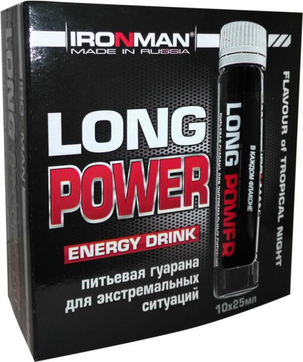Энергетик Ironman Long Power, гуарана, 10 флаконов х 25 мл4650069821267Гуарана Long Power - натуральный экстракт зерен кустарника гуараны Особенность этого растения - высокое содержание натурального кофеина, а также ряда витаминов и экстрактивных веществ. При приеме гуараны активизируется биоэлектрическая активность мозга, стимулируется синтез адреналина, что приводит к повышенной выносливости. Содержащиеся в гуаране дубильные вещества замедляют всасывание кофеина, что делает его действие более мягким и пролонгированным. Присутствующие в LONG POWER витамин В6 (пиридоксин) и магний (Mg) весьма важны для спортсменов, поскольку являются важнейшими регуляторами синтеза белков. Кроме того, магний участвует в ключевых реакциях углеводного обмена и входит в состав многих ферментов.Состав:Экстракт гуараны с теином Doehler GmbH, Германия, левулоза, вода, лимонная кислота, Mg, смесь витаминов DSM Nutritional Products, Швейцария.