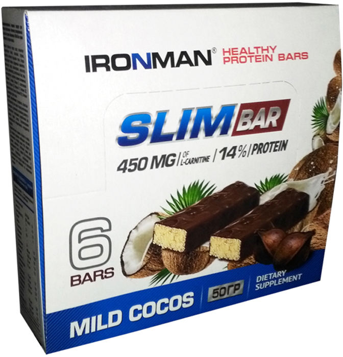 Батончик энергетический Ironman Slim Bar, с L-карнитином, кокос, темная глазурь, 50 г, 6 шт take a slim bite мята шоколад батончик фруктово ягодный 30 шт по 30 г