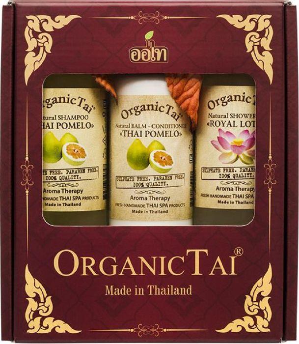 Фото OrganicTai Косметический набор: Натуральный шампунь для волос Тайское помело 260 мл + Натуральный бальзам-кондиционер Тайское помело, 260 мл + Натуральный гель для душа Королевский лотос, 260 мл