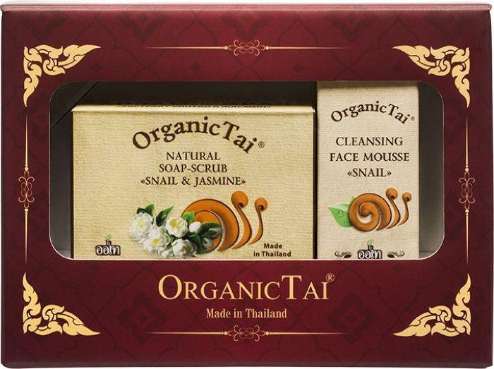 OrganicTai Косметический набор: Пенка для умывания с экстрактом улитки, 60 мл + Натуральное Мыло-скраб с экстрактом улитки и жасмином, 100 г babyline детская пенка для умывания лица рук и тела 250 мл