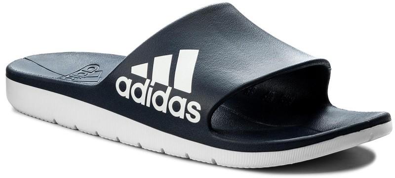 Шлепанцы мужские Adidas Aqualette Cloudfoam, цвет: синий, белый. CM7929. Размер 6 (38)CM7929В мужских шлепанцах Adidas Aqualette Cloudfoam удобно ходить в душ после тренировок. Цельный литой верх из ЭВА и литая анатомическая стелька приятно ощущаются на ноге. Лаконичный дизайн дополнен тремя полосками. Промежуточная подошва Cloudfoam добавит еще больше комфорта.