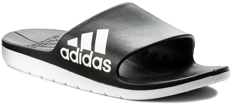 Шлепанцы мужские Adidas Aqualette Cloudfoam, цвет: черный, белый. CM7928. Размер 8 (40,5)CM7928В мужских шлепанцах Adidas Aqualette Cloudfoam удобно ходить в душ после тренировок. Цельный литой верх из ЭВА и литая анатомическая стелька приятно ощущаются на ноге. Лаконичный дизайн дополнен тремя полосками. Промежуточная подошва Cloudfoam добавит еще больше комфорта.