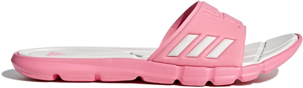 Шлепанцы женские Adidas Adipure Cloudfoam, цвет: розовый, белый. CG2813. Размер 9 (42)CG2813Удобные женские шлепанцы Adidas Adipure Cloudfoam для бассейна и пляжа. Цельный верх из синтетических материалов и мягкая быстросохнущая стелька Cloudfoam обеспечивают потрясающий уровень комфорта. Промежуточная подошва и подметка оформлены логотипом adidas. Литая подошва изготовлена из легкого ЭВА для большего комфорта.