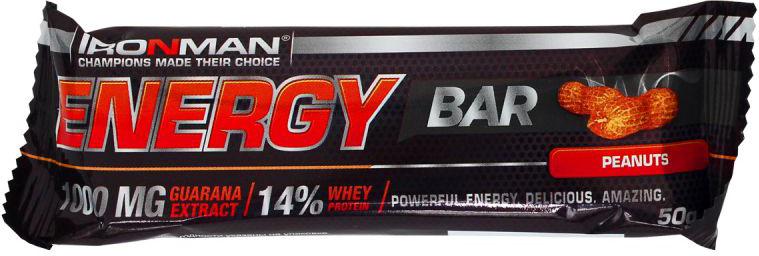 Батончик энергетический Ironman Energy Bar, с гуараной, орех, темная глазурь, 50 г4607062750681Энергетический батончик Ironman Energy Bar обладает ярко выраженным тонизирующим действием, обусловленным содержанием экстракта гуараны. Вкусный и полезный перекус!Состав:Глюкозный сироп, сахар, концентрат сывороточного белка Armor Proteines SAS, Франция, сыворотка молочная сухая, кокос, орех дробленый (для вкуса орех),кондитерская глазурь , рис воздушный (для вкуса кукуруза), масло растительное, мальтодекстрин, вода питьевая, основа вкусо-ароматическая Гуарана, Германия, какао, кофеин, премикс витаминный (витамин С, ниацин, витамин Е, пантотеновая кислота, витамин В6, витамин В1, витамин В2, витамин В12, фолиевая кислота, биотин), DSM Nutrtional Products, Швейцария, консервант сорбиновая кислота, антиокислитель аскорбиновая кислота, ароматизатор.