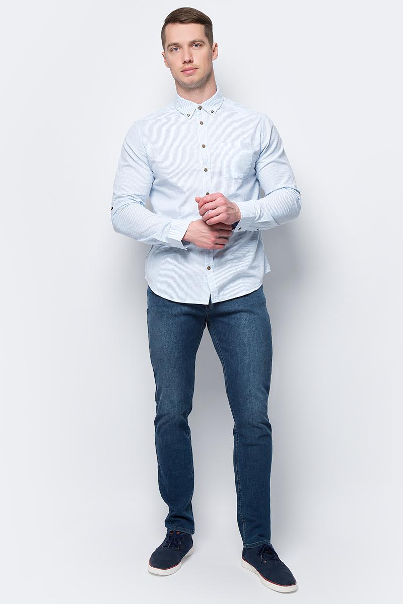 Рубашка мужская Sela, цвет: голубой. H-212/781-8112. Размер 39 (44)H-212/781-8112
