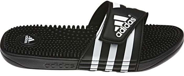 Шлепанцы мужские Adidas Adissage, цвет: черный, белый. 078260. Размер 8 (40,5)78260Лаконичные шлепанцы в спортивном стиле Adidas Adissage с удобным ремешком на липучке и массажной стелькой из термопластичной резины для большего комфорта. Литая подошва из ЭВА обеспечивает мягкую амортизацию.
