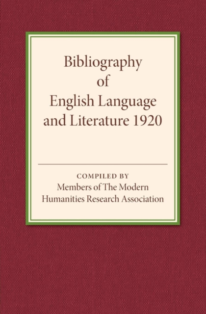 Bibliography of English Language and Literature 1920