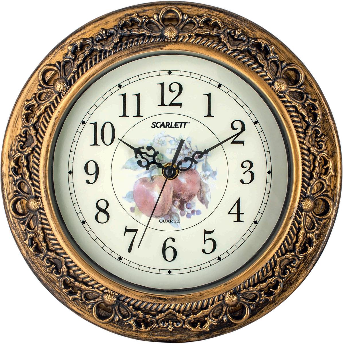 Scarlett SC-25K часы настенныеSC-25KЭлемент питания: тип АА 1.5V Период работы от одного элемента: 12 месяцев Относительная влажность помещения от 30% до 80% Температура: от 1°С до 45°С Плавный ход секундной стрелки
