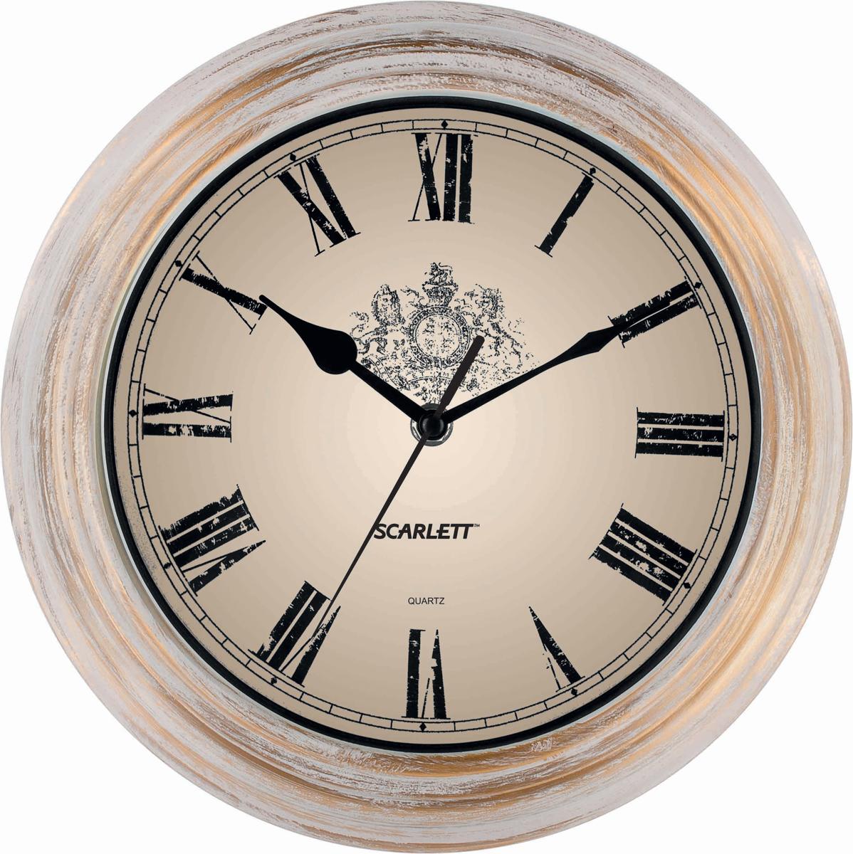 Настенные кварцевые часы Scarlett SC-27B, изготовленные из  пластика, прекрасно впишутся в интерьер  вашего дома. Круглые часы имеют три стрелки: часовую,  минутную и секундную, циферблат защищен прозрачным  пластиком.  Часы работают от 1 батарейки типа АА напряжением 1,5 В  (батарейка в комплект не входит).