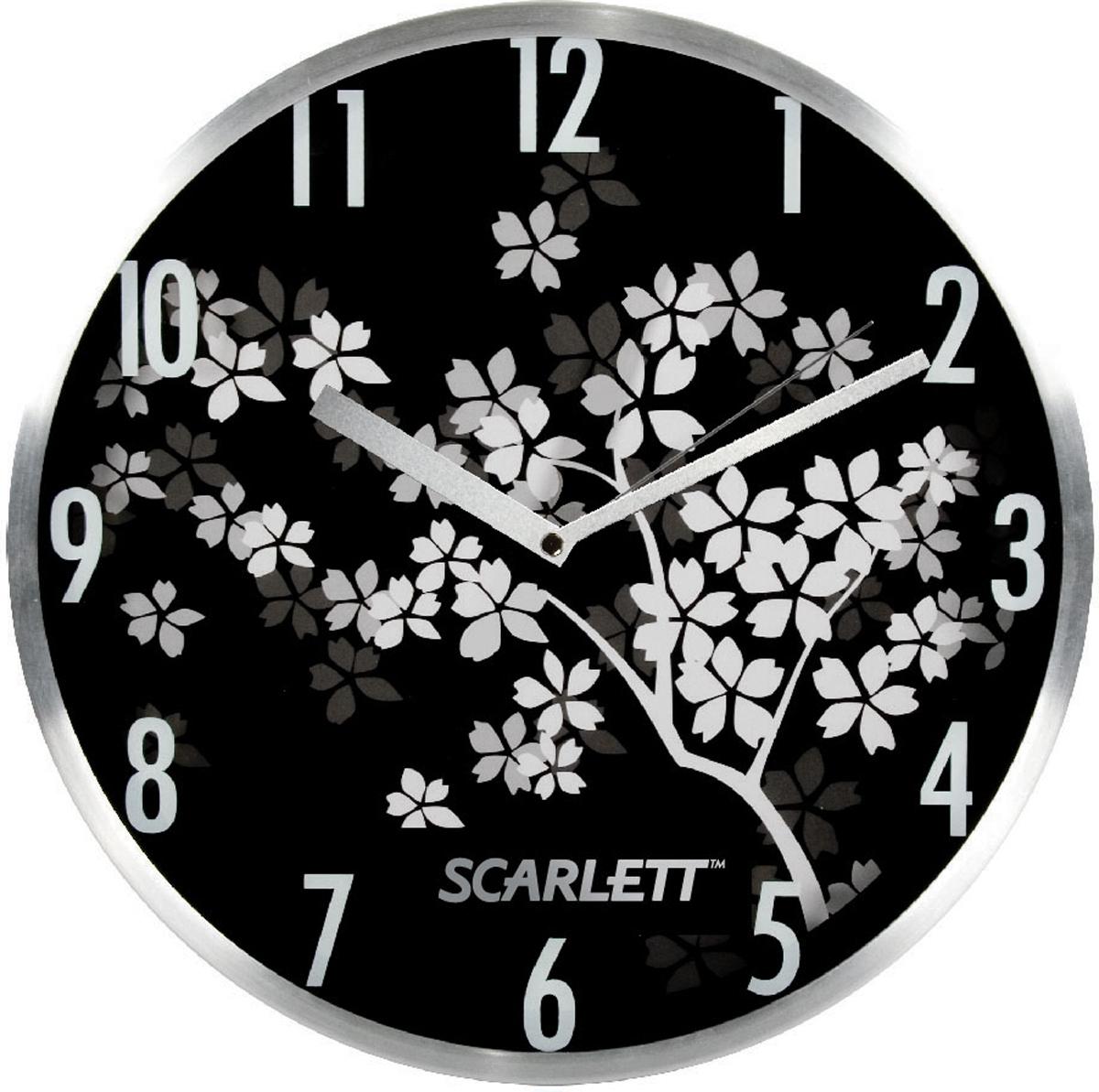 Настенные кварцевые часы Scarlett SC-33D, изготовленные из  пластика, прекрасно впишутся в интерьер  вашего дома. Круглые часы имеют три стрелки: часовую,  минутную и секундную, циферблат защищен прозрачным  пластиком.  Часы работают от 1 батарейки типа АА напряжением 1,5 В  (батарейка в комплект не входит).