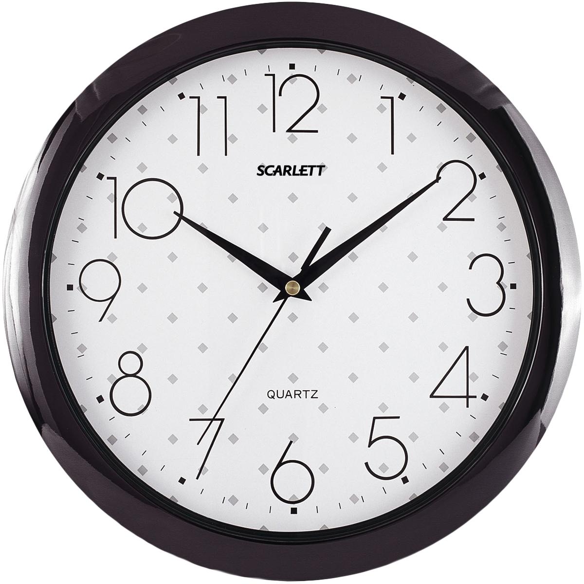 Scarlett SC-45Q часы настенныеSC-45QЭлемент питания: тип АА 1.5V Период работы от одного элемента: 12 месяцев Относительная влажность помещения от 30% до 80% Температура: от 1°С до 45°С