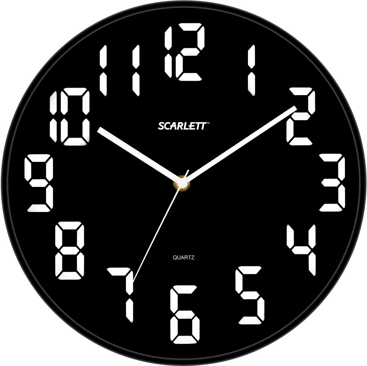 Scarlett SC-55BL часы настенныеSC-55BLМатериал корпуса - пластик Цвет корпуса - черный Цвет циферблата - черный Элемент питания: тип АА 1.5V Период работы от одного элемента: 12 месяцев Относительная влажность помещения от 30% до 80% Температура: от 1°С до 45°С Плавный ход секундной стрелки