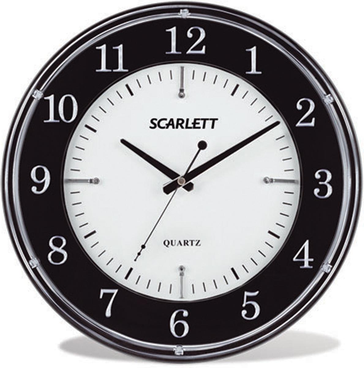 Scarlett SC-55DC часы настенныеSC-55DCЭлемент питания: тип АА 1.5V Период работы от одного элемента: 12 месяцев Относительная влажность помещения от 30% до 80% Температура: от 1°С до 45°С Плавный ход секундной стрелки