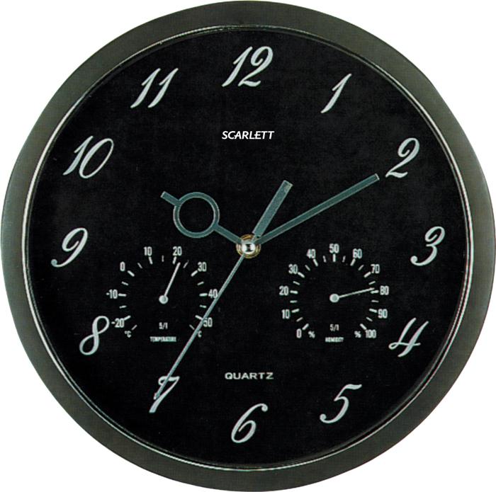 Scarlett SC-55J часы настенныеSC-55JЭлемент питания: тип АА 1.5V Период работы от одного элемента: 12 месяцев Относительная влажность помещения от 30% до 80% Температура: от 1°С до 45°С Плавный ход секундной стрелки Термометр Гигрометр