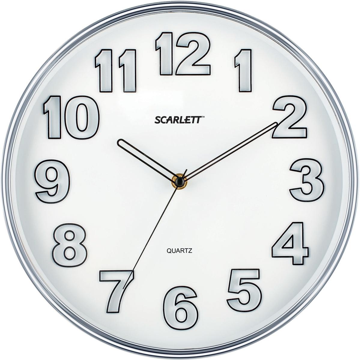 Scarlett SC-55K часы настенныеSC-55KПлавный ход секундной стрелки Материал корпуса - пластик Цвет корпуса - хром Цвет циферблата - белый Элемент питания: тип АА 1.5V Период работы от одного элемента: 12 месяцев Относительная влажность помещения от 30% до 80% Температура: от 1°С до 45°С Размер: D 30.3 см