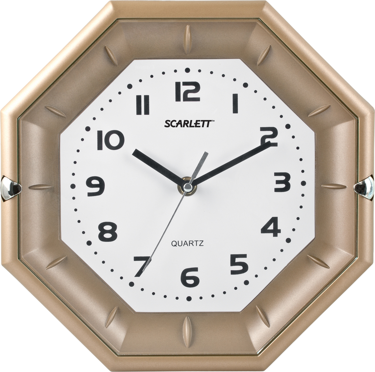 Scarlett SC-55QZ часы настенныеSC-55QZЭлемент питания: тип АА 1.5V Период работы от одного элемента: 12 месяцев Относительная влажность помещения от 30% до 80% Температура: от 1°С до 45°С Плавный ход секундной стрелки Размер: 25.5x25.5x4.0 см