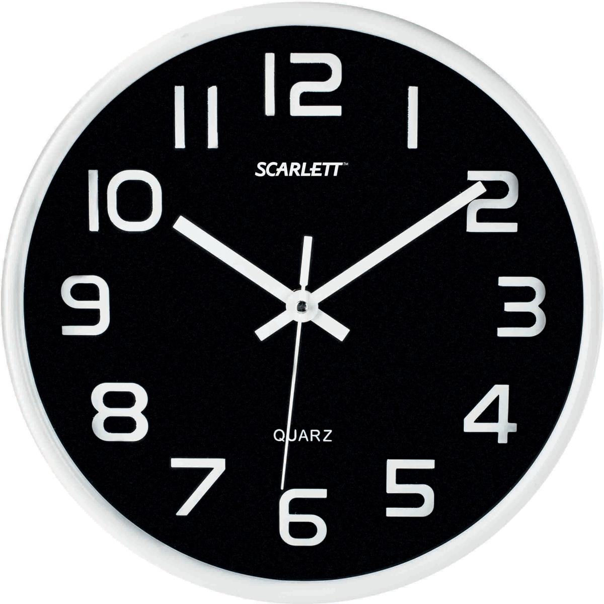 Scarlett SC-WC1001O часы настенныеSC-WC1001OЭлемент питания: тип АА 1.5V (в комплект не входит Период работы от одного элемента: 12 месяцев Относительная влажность помещения от 30% до 80% Температура: от 1°С до 45°С Материал корпуса - пластик Плавный бесшумный ход