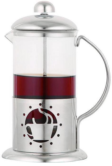 """Френч-пресс """"Eurostek"""" используется для заваривания крупнолистового чая, кофе среднего помола, травяных сборов.  Изготовлен из высококачественной нержавеющей стали и боросиликатного стекла, выдерживающего высокую температуру, что придает ему надежность и долговечность. Имеет удобный носик """"антикапля"""" и металлический поршень. Френч-пресс """"Eurostek"""" незаменим для любителей чая и кофе. Можно мыть в посудомоечной машине."""
