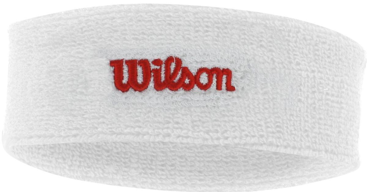 Повязка Wilson Headband, цвет: белый. Размер универсальныйWR5600110Повязка на голову от Wilson - необходимый аксессуар для матчей и тренировок. Позволяет собрать волосы и защищает от попадания пота в глаза. Состав материала: 90% хлопок, 6% спандекс, 4% нейлон.
