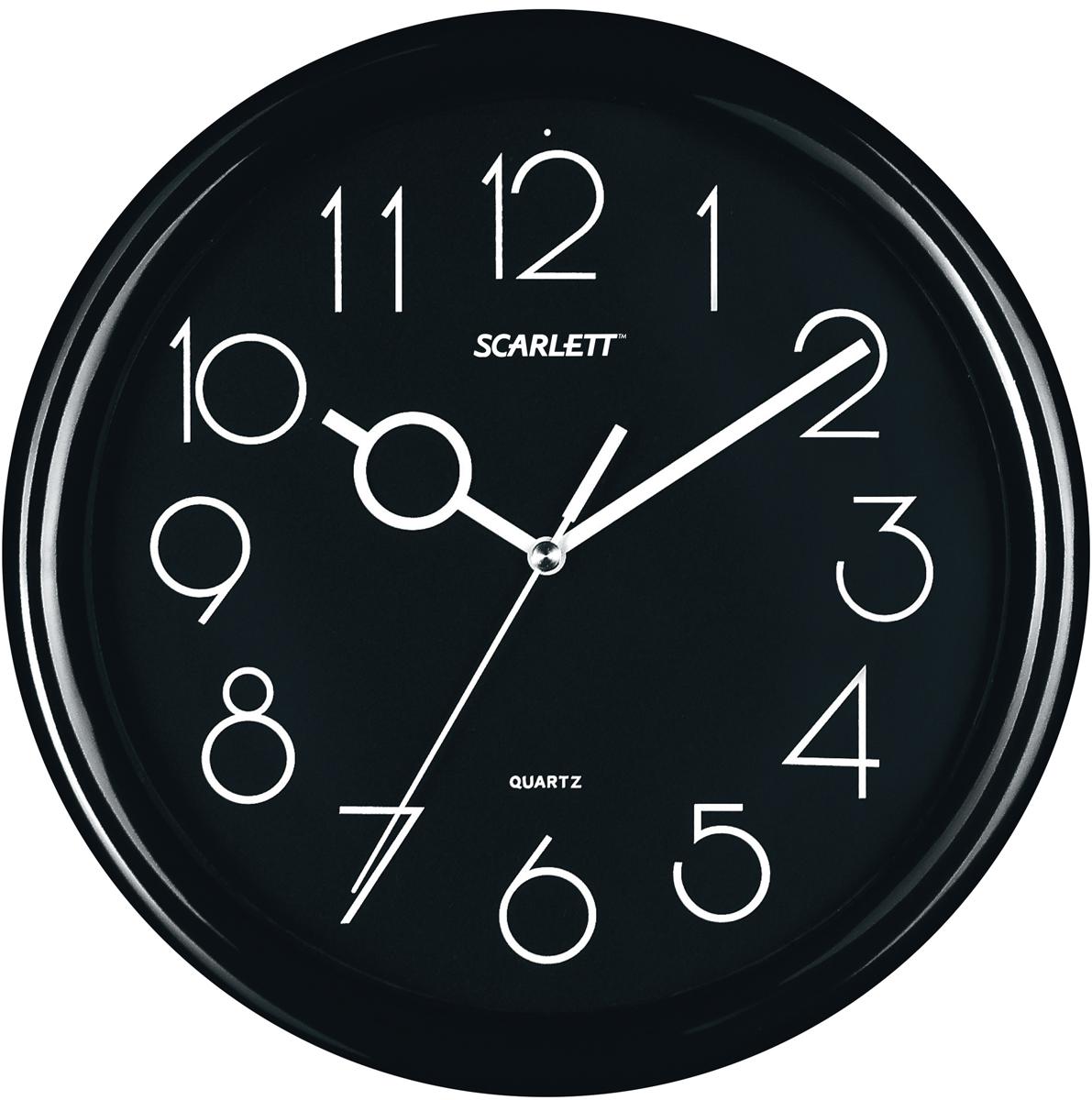 Настенные кварцевые часы Scarlett SC-09D, изготовленные из  пластика, прекрасно впишутся в интерьер  вашего дома. Круглые часы имеют три стрелки: часовую,  минутную и секундную, циферблат защищен прозрачным  пластиком.  Часы работают от 1 батарейки типа АА напряжением 1,5 В  (батарейка в комплект не входит).