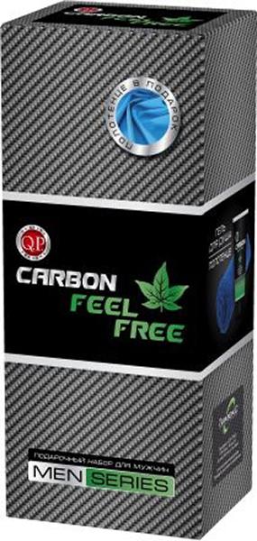 Q.P. Carbon Feel Free Косметический набор мужской: Гель для душа, 200 мл + полотенце ahava минеральный гель для душа deadsea water 200 мл минеральный гель для душа deadsea water 200 мл 200 мл