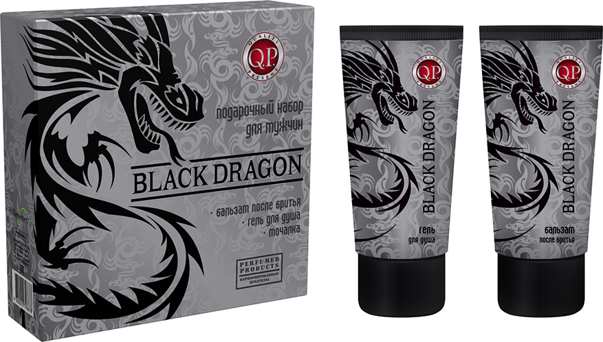 Q.P. Black Dragon Косметический набор мужской: Гель для душа, 200 мл + Бальзам после бритья, 200 мл косметика для мамы vitamin гель для душа 5 ягод 650 мл