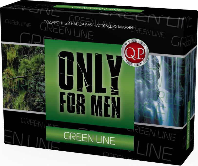 Q.P. Only for Men Green Line Косметический набор мужской: Гель для душа, 250 мл + Крем для бритья, 75 мл + Бальзам после бритья, 75 мл + Мочалка planet nails скраб для spa процедур green line 250 мл скраб для spa процедур green line 250 мл 250 мл