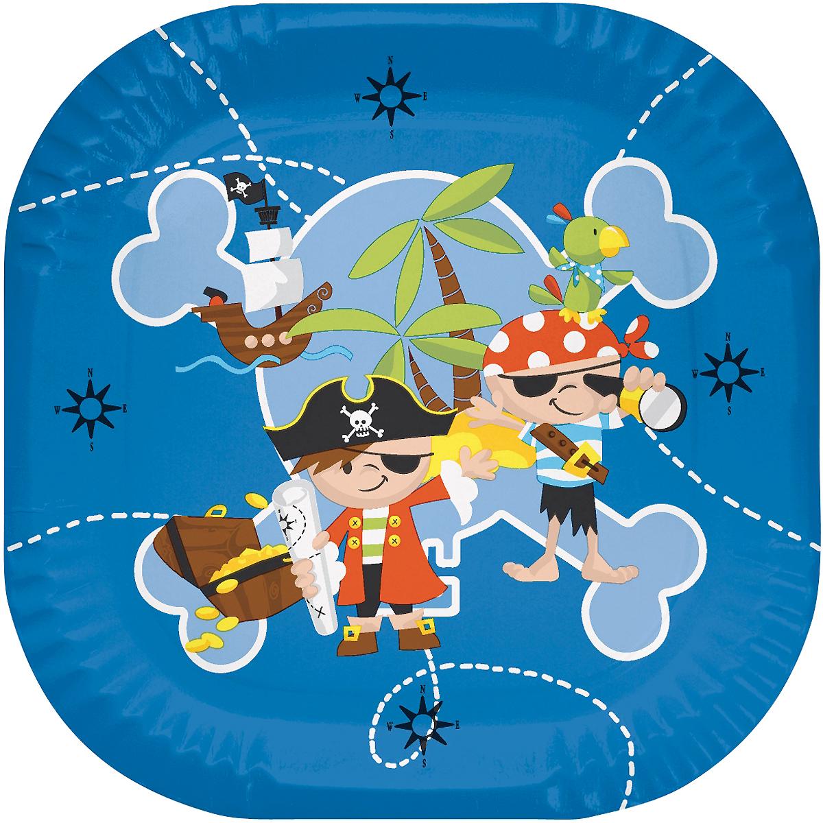 Набор одноразовых тарелок Duni Капитан Джек, 22 х 22 см, 10 шт167968Одноразовые тарелки Duni прекрасно подойдут для любого мероприятия, например для детских праздников, семейный пикников. Тарелки изготовлены из ламинированной плотной бумаги. Предназначены для подачи холодных и теплых блюд. Не промокают, прекрасно держат свою первоначальную форму в течение нескольких часов.